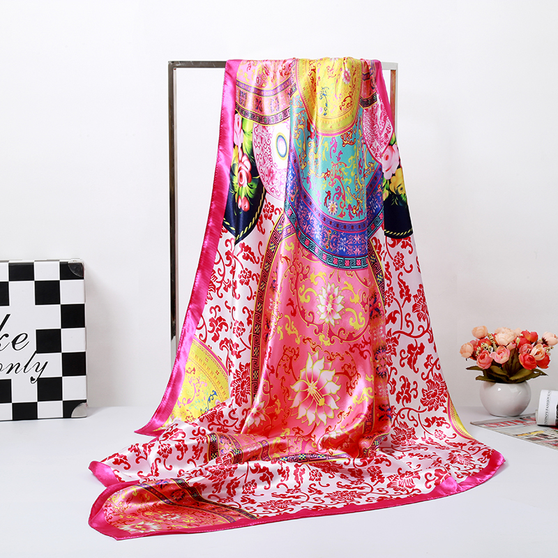 Image 2 - Bandanas Scarf Headband Muslim Hijab Luxury Blue Flower Print  Silk Square Scarf Women Brand Quality Imitated Silk Satin Shawlbrand  shawlshawl brandsatin shawl