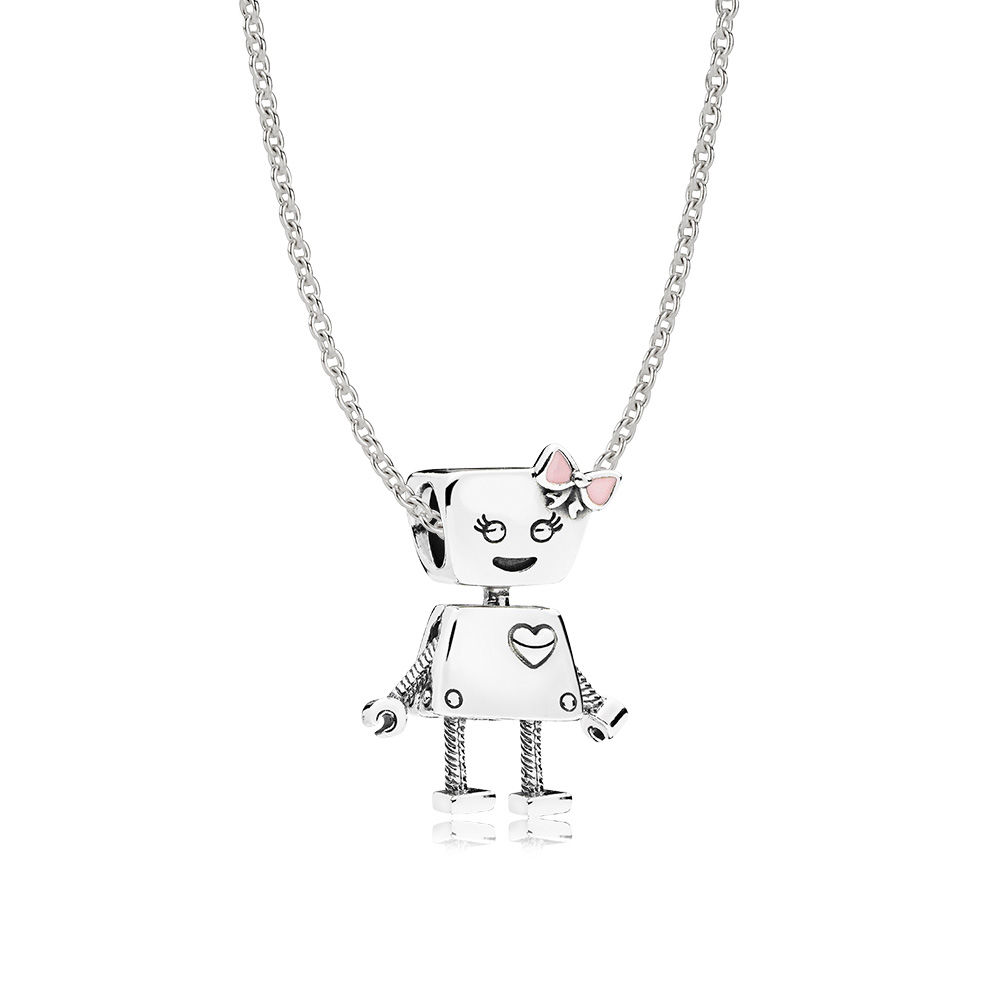 2018 pan 100% 925 Sterling Silver Bella Bot Necklace Set Fit Charm Original Necklace A s ...