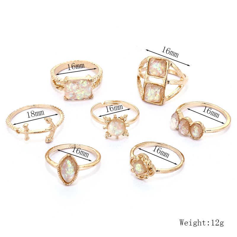 XIYANIKE 7 teile/satz Vintage Naturstein Opal Tibetischen Knuckle Gold Farbe Finger Ringe Set Für Frauen Bohemian Boho Schmuck R171