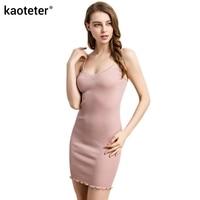 70% Silk 30% Cotton Women's Seamless Primer Full Slips Women Sexy Ribbed Knitwear Hip Turtles High Elastic Sling Petticoats