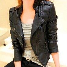 Women Fashion Faux Leather Jacket Slim Outerwea Black Long Sleeve Zipper Turn-do