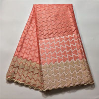 latest Nigerian style french net lace fabric tulle embroidered net mesh laces fabrics for women