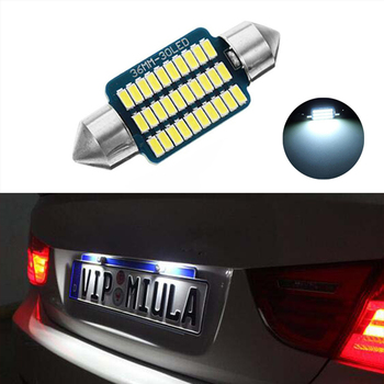 1X Car Led Error Free 36mm C5W 3014 SMD Lamp 12V License Number Plate Light For BMW E36 E39 E46 E90 E91 E92 E53 E60 E65 E71 image