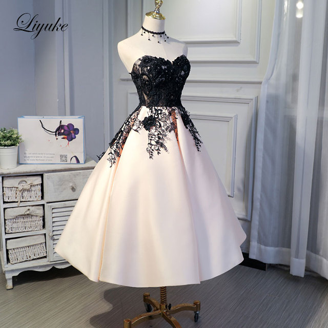Liyuke Ruched Mix Black Custom Made New Prom Dress A Line Strapless Party  Dress Knee Length Lace Up Formal Dresses -in Prom Dresses from Weddings    Events ... 6498cf849