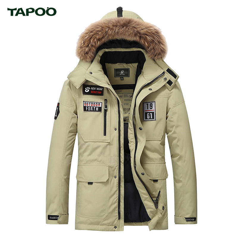 Mens Parka Duck Down Jacket With Big Fur Hood Winter Warm Thick Jackets Plus Size Medium Style Coat TAPOO Original Brand 2017 down coat winter jacket men hooded parka with fur collar duck down jackets thick warm long outerwear male brand clothing