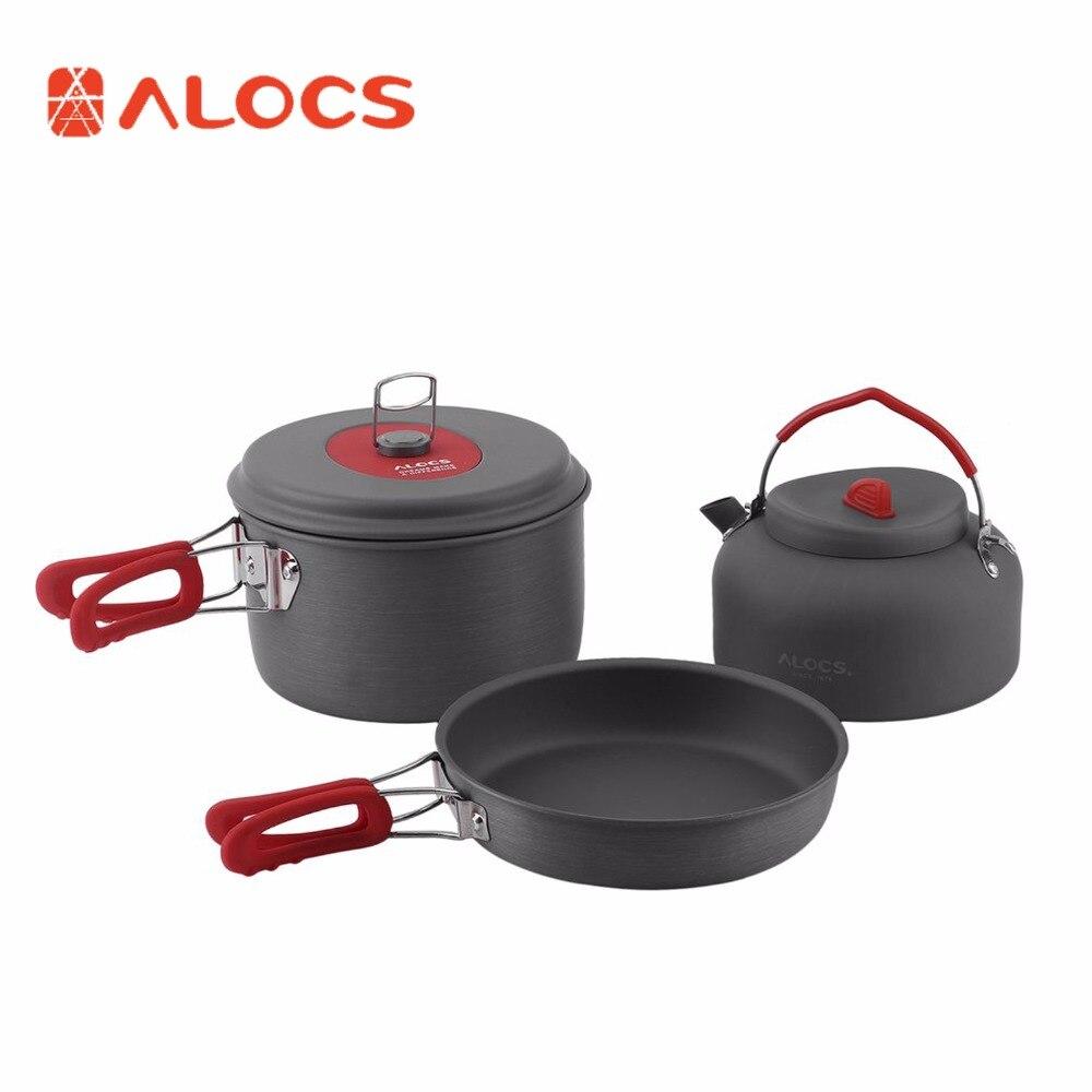 ALOCS Non-Stick Aluminum Camping Cookware ALOCS Ultralight Outdoor Cooking Picnic Kettle Dishcloth For 2-3 People чайник походный alocs love road off cw k04 alocs cw k04 pro