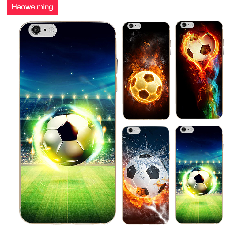 Haoweiming Football Soccer Fire Ball Slim Silicone Soft TPU Cover Case For iphone X 4 4S 5 5S SE 6 6S 7 8 Plus #H106