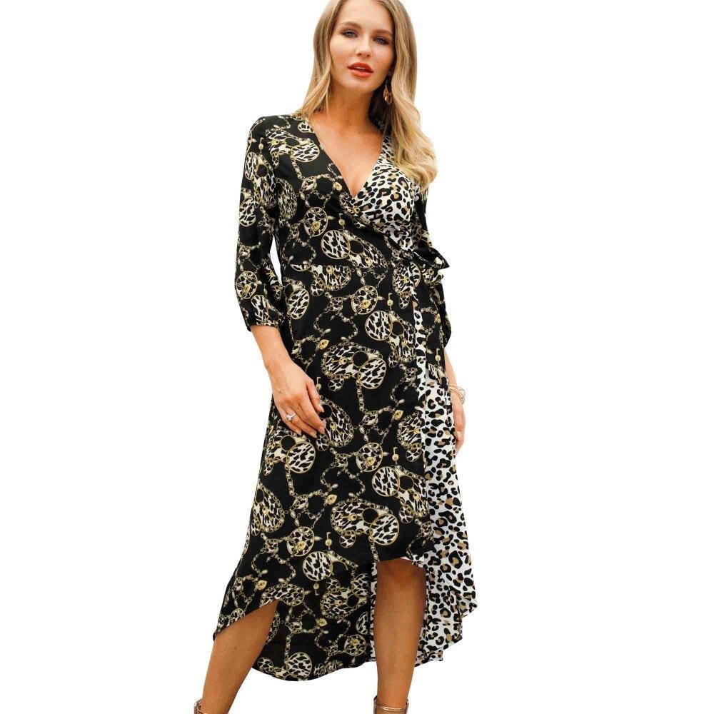 7034e5a4efe Женщины 2019 V шеи Бохо платья цепь ключ Леопардовый принт wrap Surplice  Высокий Низкий Hi-