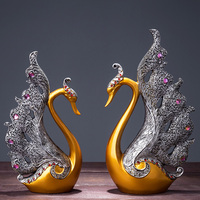 European resin couple swan decorative ornaments interior furniture animal figurines home decorations accessories wedding gift