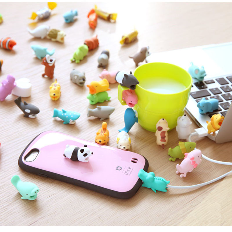 50 pcs Cute Bite Protector for Iphone cable Winder Animal USB Cable Organizer Data Line Management