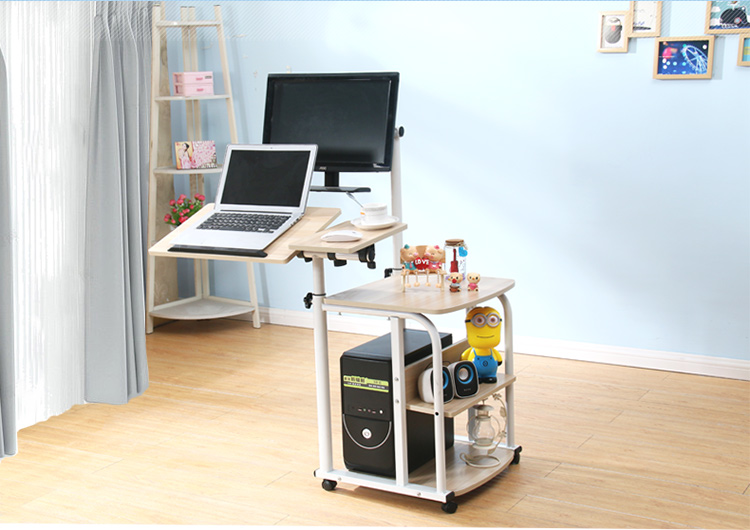 Suspension contracted mobile desktop computer desk. Simple rotary home lift notebook bedside table