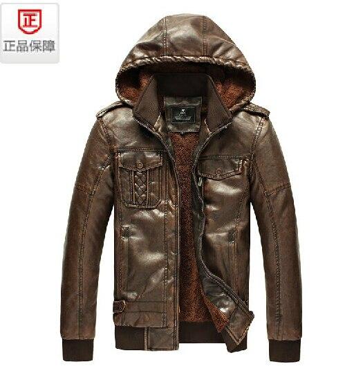 Осень зима большой бархат мужчины бренд кожа куртка с a капот полиуретан короткая дизайн кожа пальто / L-3XL