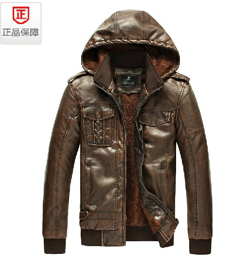 Autumn winter NEW plus velvet men's brand fashion leather jacket with a hood PU Leisure short design leather coat / L-3XL