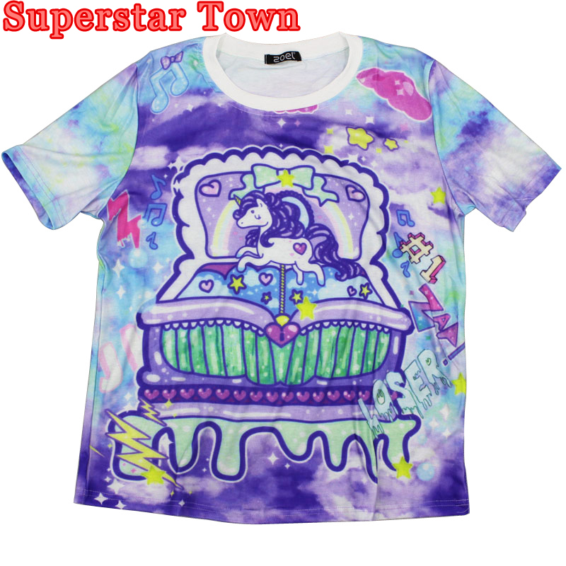 Harajuku Style Tie Dye T Shirt Tombstone My little Pony Unicorn Rainbow Bear Kawaii Cute Printed Women T-shirt Tops