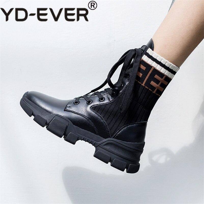 Casual noir Marque ever Hiver Stretch Lacets Femmes Chaussures formes Automne Yd Beige Bottines Plates Dames Femme À Bottes Confort wOqRU