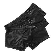 3 stücke neue sexy boxer leder herren underwear fabrik großhandel männer homme herren boxer marke kleidung shorts freies verschiffen