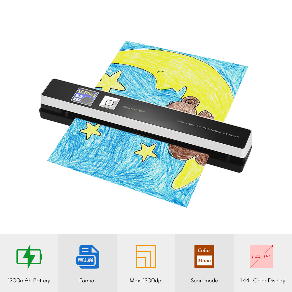 TSN480 Portable Wand Document Photo A4 A5 Scanner Auto Feed Paper Color/Mono 1200DPI for Reciepts Certificates Contracts Invoice l1000 portable hd 10mp 3672x2856 usb camera photo image document book a3 a4 scanner visual presenter high speed ocr scanner a3