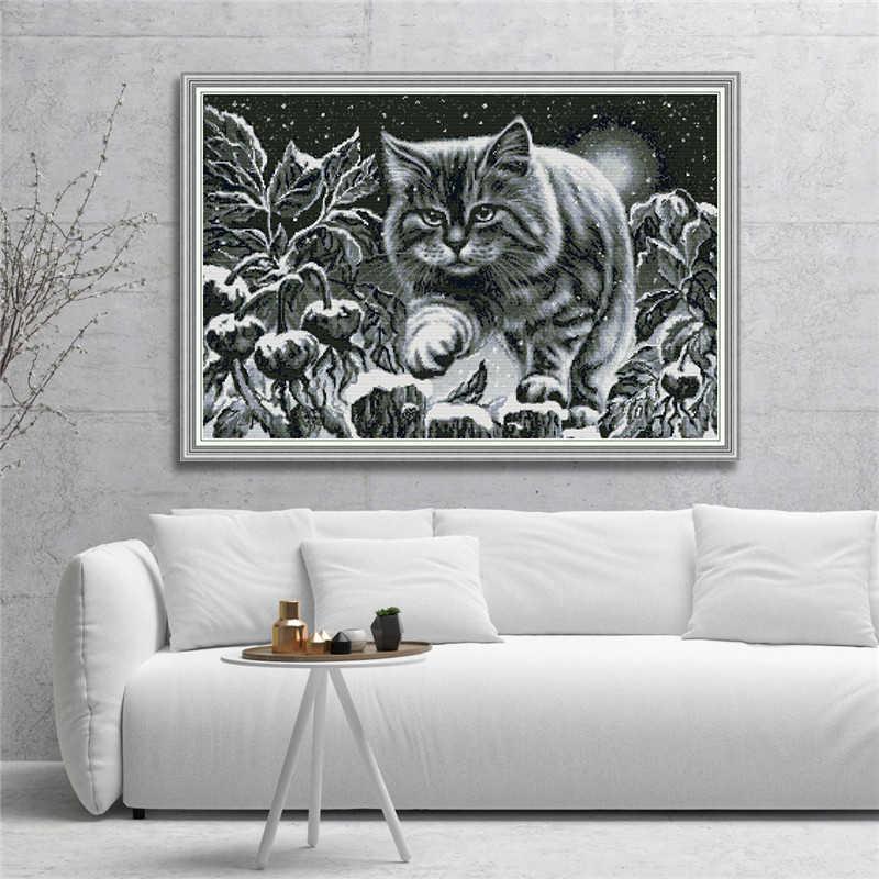 Gatto nero Su Notte di Neve Modelli di Punto Croce Kit 11CT Tessuto Stampato 14CT Tela DMC Conteggio Filo da Ricamo Set FAI DA TE artigianato