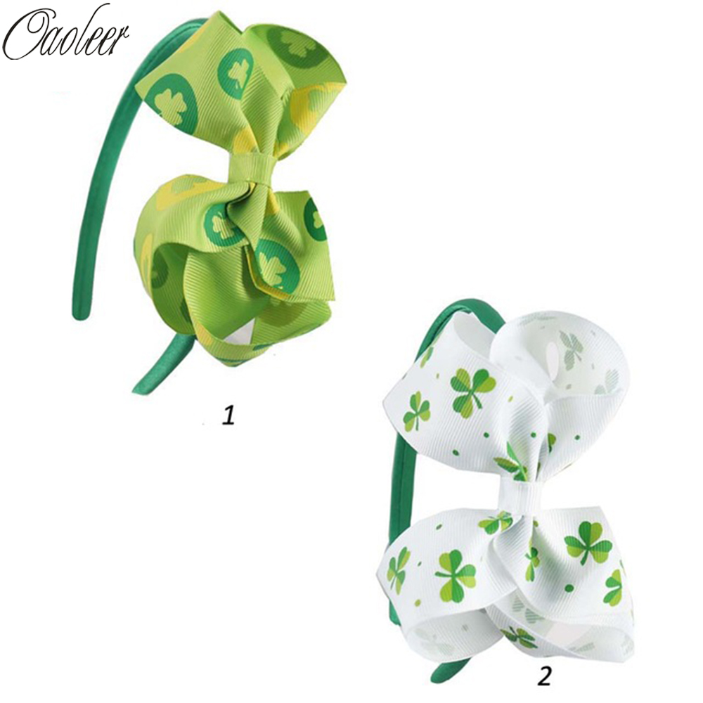 6Pcs/LOT Hot Sale Green Shamrock Hairbows Clover Hairband Saint Patricks Day Headband For Baby Child Headwrap ...