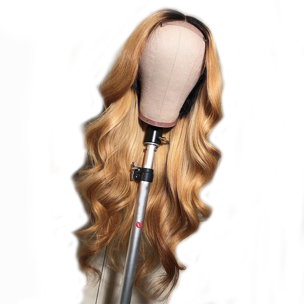 Pre Plucked Brazilian Remy Hair Lace Front Wig Wavy Ombre Blonde Highlights Color 130 150 180