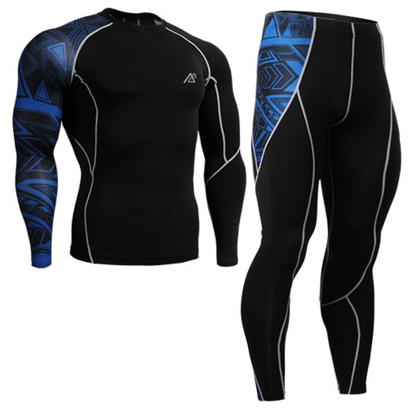 Mens Compression Shirts + Hosen Sets Trainning Gym MMA Gewichtheben Fitness Haut Engen Basis Schichten Set