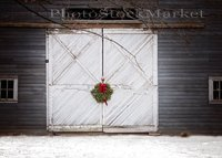 Festive Barn Door Holiday Wreath Red Bow New England Winter backdrop Computer print christmas background