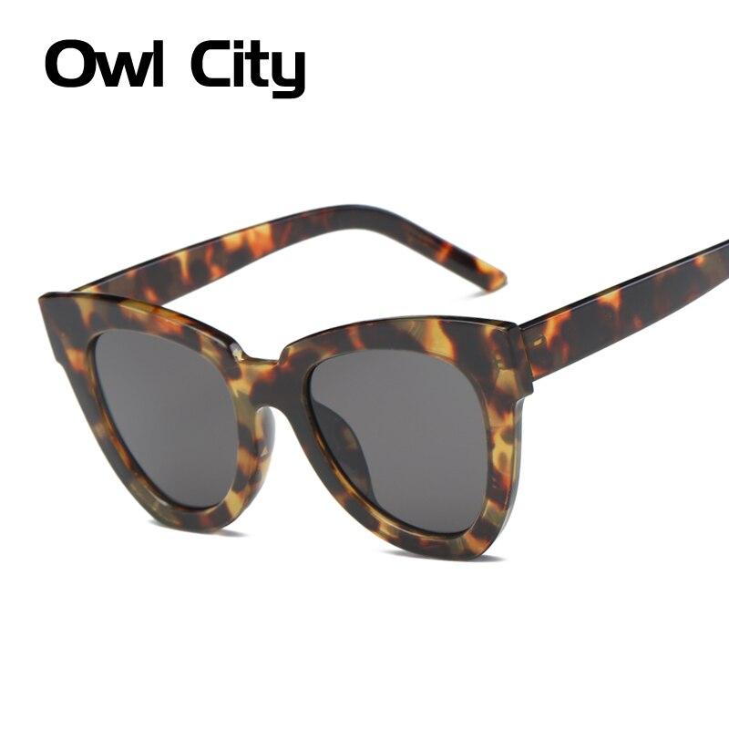 Owl City Cat Eye Women Sluneční brýle Luxusní značka Designer Acetate Frame Gradient objektivy Muž Žena Big Cateye Shades UV400