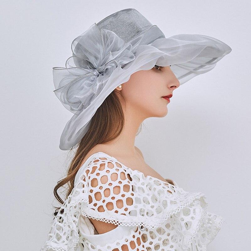[AETRENDS] 2018 New Vintage Elegant Lapisan Ganda Organza Sun Topi - Aksesori pakaian - Foto 2