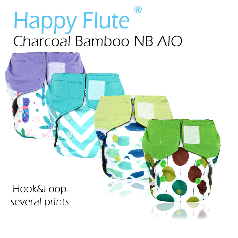 HappyFlute Newborn Charcoal Bamboo AIO ,waterproof and breathable, fits 0-3months baby or 6-19 lbs