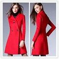 V шеи шерсть пальто фитнес камвольно женская осень модельер плюс размер теплый длинное пальто европейский плащ для женщины
