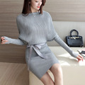 Spring female Korean fashion slim slim package hip bat sleeve knit dress dress  JN1013