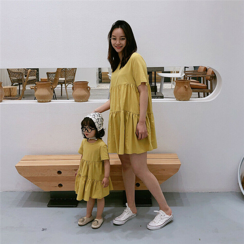 Mutter Und Tochter Kleider mama und mich familie passenden kleidung Eltern-Kind Frauen Kinder Baby Mädchen Nette Plain Kleid elegante