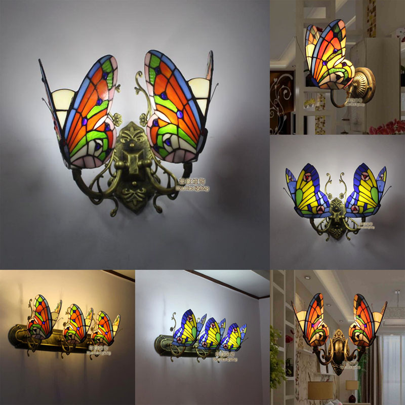 Tiffany Baroque butterfly vintage Stained Glass Iron Mermaid wall lamp indoor lighting bedside lamps wall lights for home tiffany baroque vintage stained glass iron mermaid wall lamp indoor lighting bedside lamps wall lights for home ac 110v 220v e27