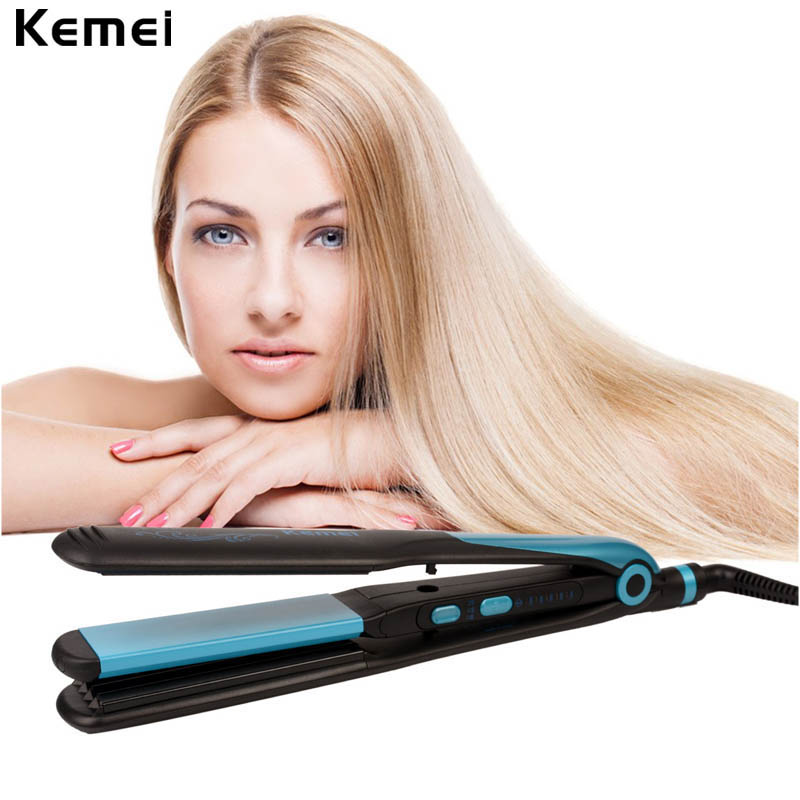 2-in-1 Blue Hair Straightener Ceramic Corn Plate Straightening Curling Irons Electric Curler Professional Styling Tools Dry Wet