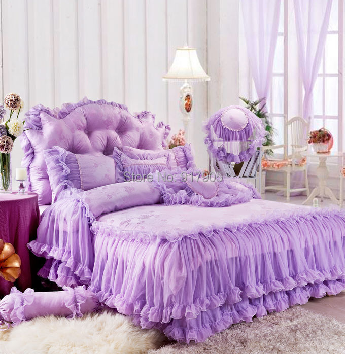 Korean Purple Lace Ruffled Bedding Sets Romantic Satin