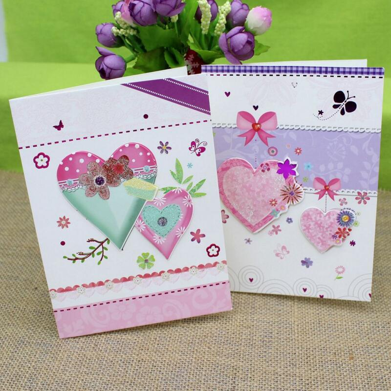 Cute heart flower print handmade greeting cards birthday day cute heart flower print handmade greeting cards birthday day postcard invitation card paper crafts xmas gifts 10pcsset in cards invitations from home m4hsunfo