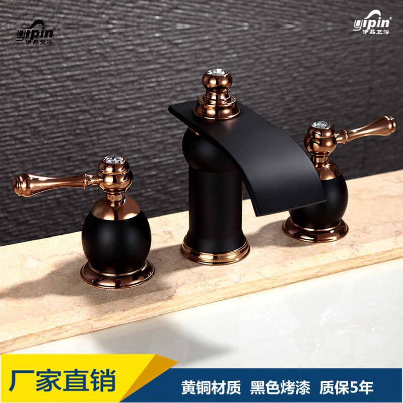 copper double waterfall faucet of the lacquer that bake all the three hole black bathroom counter basin faucetcopper double waterfall faucet of the lacquer that bake all the three hole black bathroom counter basin faucet