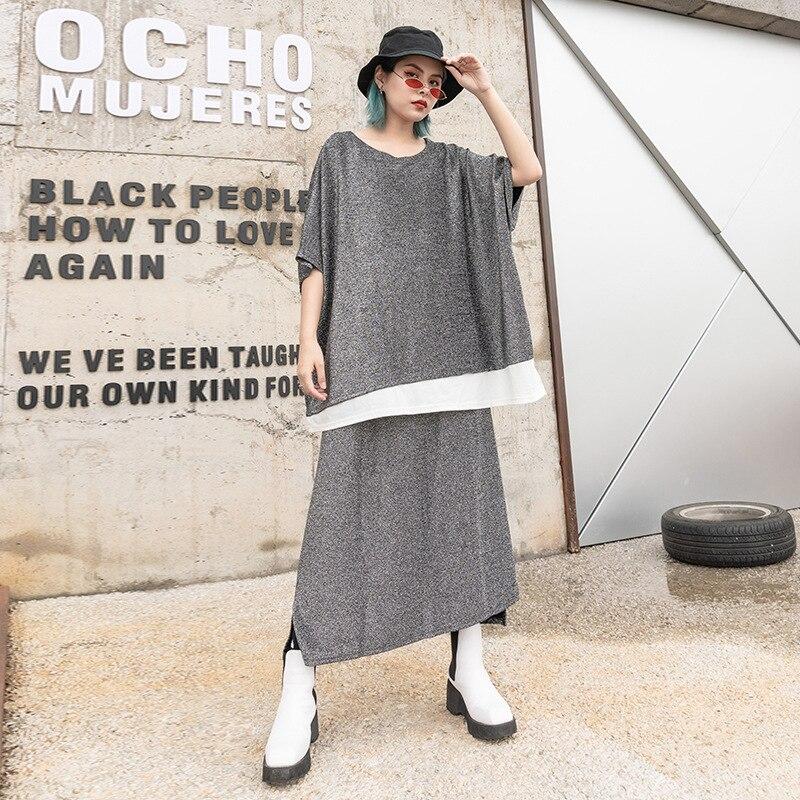 Haute qualité femmes Patchwork t-shirt + Maxi jupes costumes grande taille hauts Vintage Bringt Lurex tenues élégant femme deux pièces ensemble