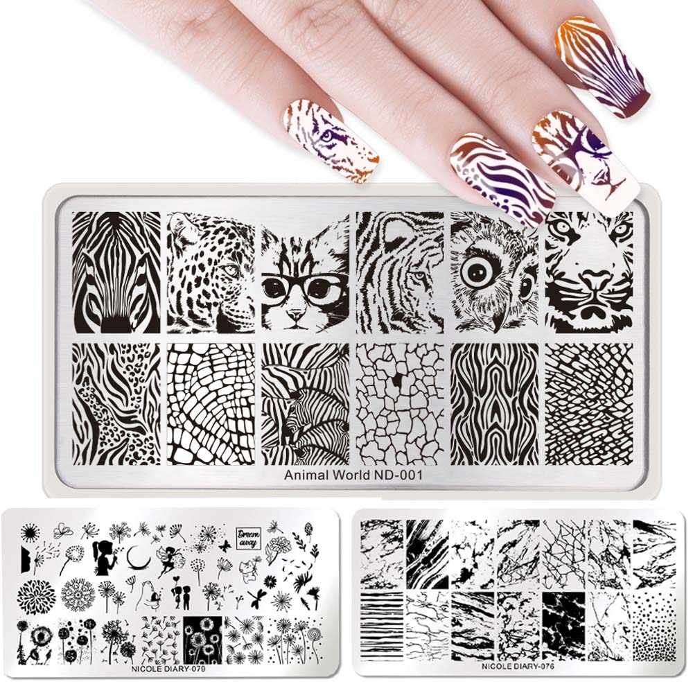 NICOLE DIARY Nail Art Stamping Plates Rectangle Geometric Flowers Nail Art Stamp Stencil Template Manicure Tools for Nail Polish