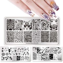 NICOLE DIARY Nail Art Stamping Plates Rectangle Geometric Flowers Nail Art Stamp Stencil Template Manicure Tools for Nail Polish(China)