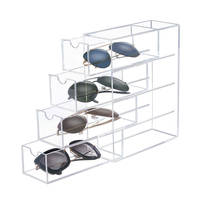 4 Tier Acrylic Eyeglasses Storage Box Glasses Display Case Storage Organizer Sunglasses Collector