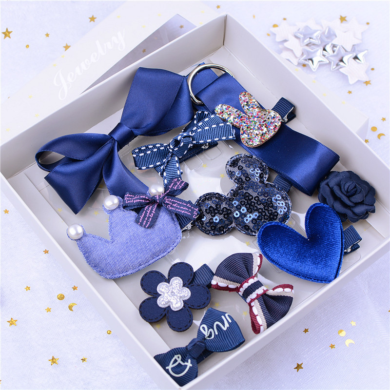 10Pcs Bowknot Kind Hairpin Set Flower Heart Bear Girls HairClip Hair Accessories Headwear Headband Hairgrip Exquisite Gift Box