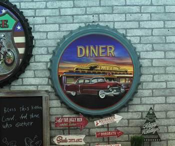 "Large 3D effect tin sign ""DIENR"" Vintage Metal Painting Beer cap Bar Wallpaper Decor Retro Mural Poster Craft 50x50 CM"