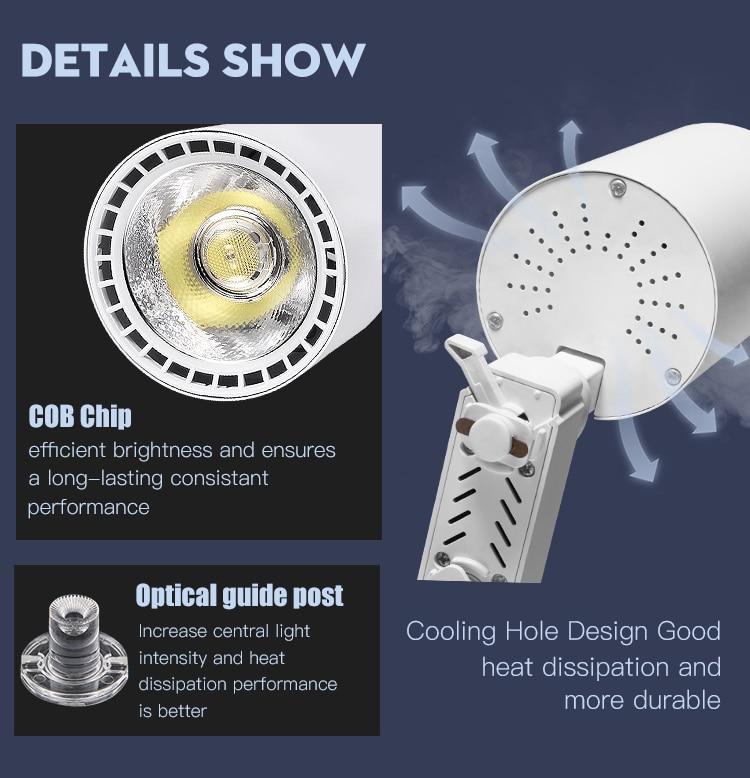COB светодиодный Трековый светильник 220V 12/20 Вт, 30 Вт, 40 Вт регулируемый Точечный светильник Алюминий потолочный рельсы для Кухня магазин