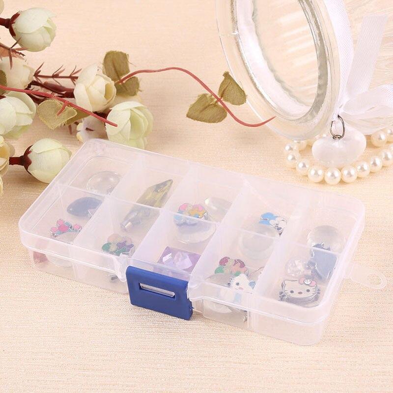 Organizer Case Ring-Earring Storage-Box Jewelry Pill-Beads Transparent Plastic 10-Slots