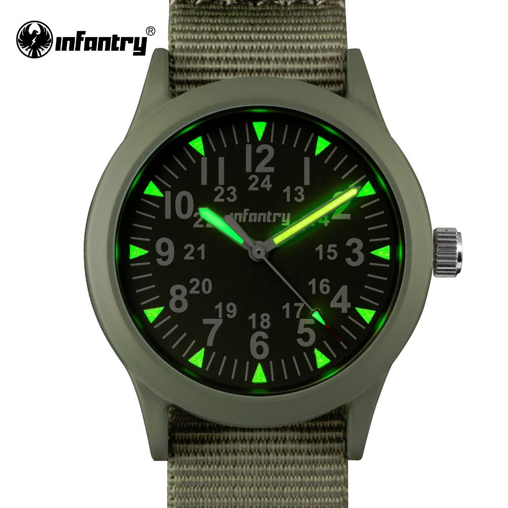 Prix pour Infantry mens sport montres russe armée lumineux montres hattori quartz forte nylon sangle relogio masculino horloge