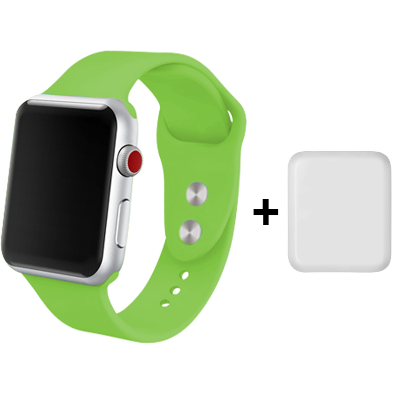 Silicon Watch Band 40mm 44mm Green Wristbands 42mm 38mm For Iphone Watch 3 +Protector Pantalla Apple Watch 4