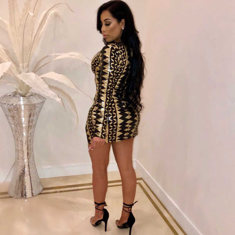 4cad456a6c55 ... Night Club Geometric Sequin Dresses Women Double Slit Sexy Bodycon Mini  Dress Long Sleeve Deep V ...