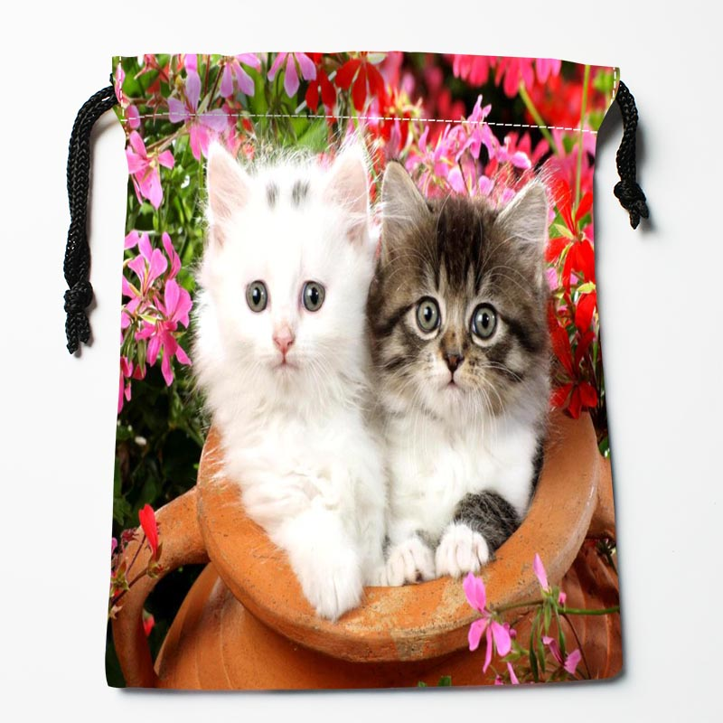 New Arrive Cat And Flower Drawstring Bags Custom Storage Bags Storage Printed Gift Bags More Size 27x35cm DIY Your Picture