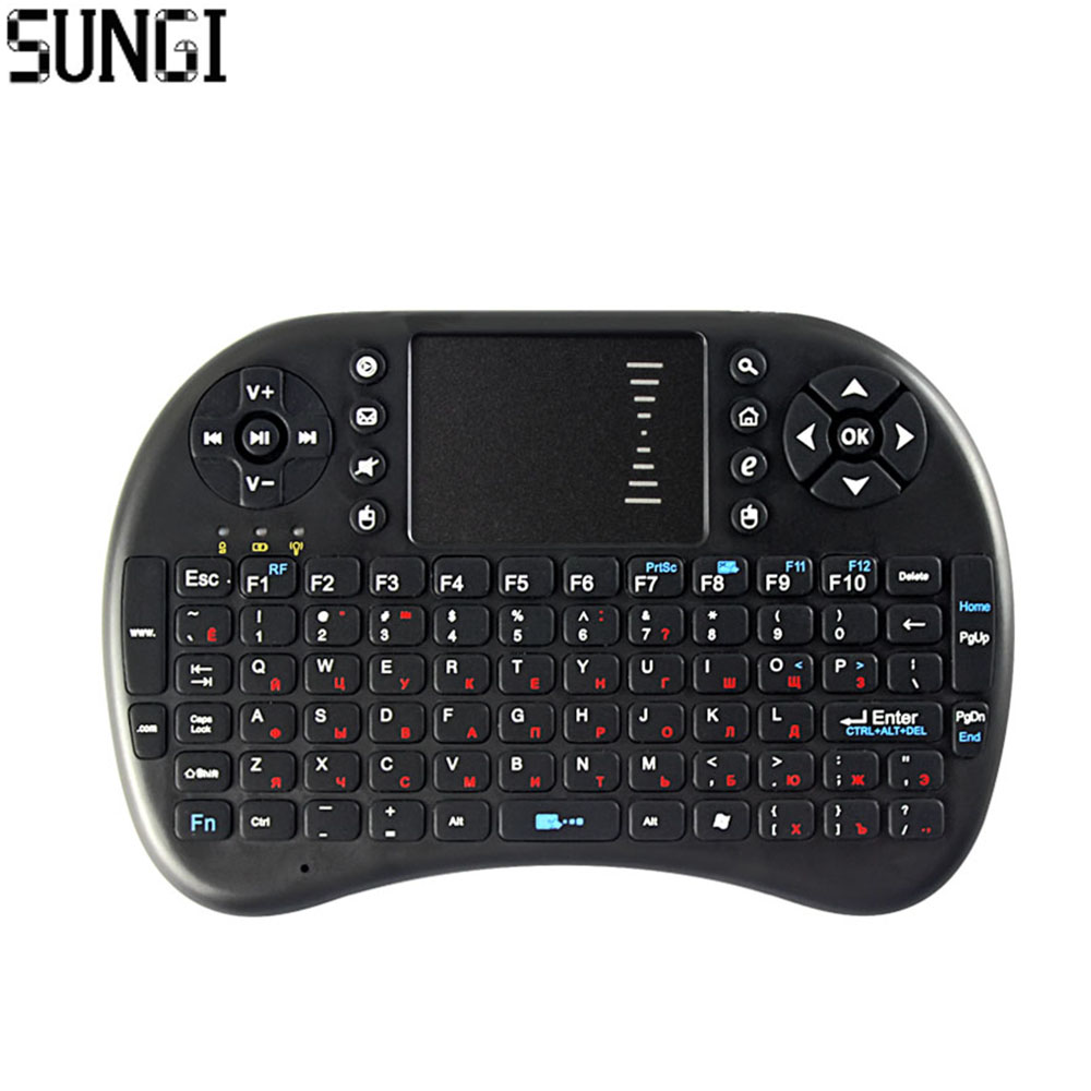 Diseño ruso 2.4G Mini teclado inalámbrico Air Fly Mouse Teclado Touchpad Control remoto para Android TV Box Notebook Tablet PC